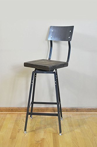 Superb Reclaimed Salvaged Barn Wood Industrial Bar Stool Chair With Backrest And Swivel Seat Industrial Modern Free Shipping Evergreenethics Interior Chair Design Evergreenethicsorg