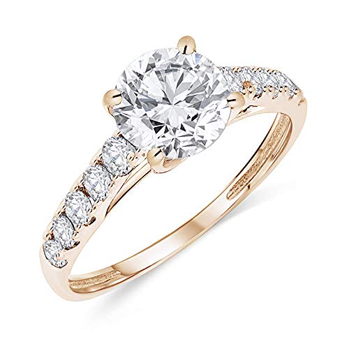 Buy Jewels 14k Authentic Gold Engagement Ring Round Solitaire AAA+ Cubic Zirconia (Rose-Gold, 5.5) (Best Affordable Engagement Rings)