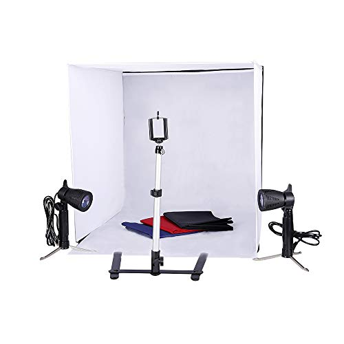 (Studio Light Tent Kit by Kshioe,Large/24x24 Inch Table Top Photography Lighting Box with Camera Camcorder Tripod Stand Phone Clip Holder and 50W Photo Spotlight Contain Light Stand)