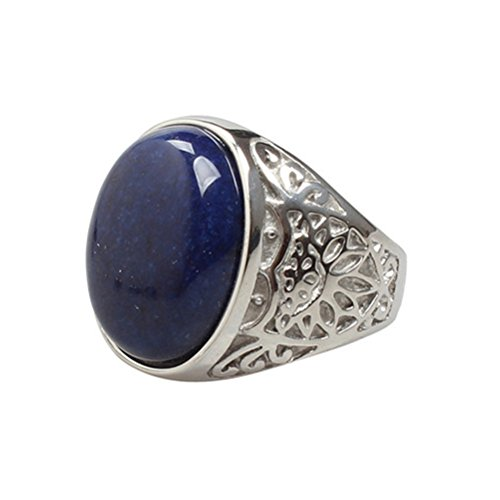 OAKKY Jewelry Men's Stainless Steel Carved Flower Pattern Vintage Blue Gem Stone Rings, Silver Size 8