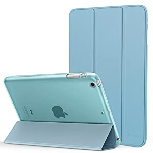 MoKo Case Fit iPad Mini 3/2 / 1, Slim Lightweight Smart Shell Stand Cover with Translucent Frosted Back Protector Fit Apple iPad Mini 1 / Mini 2 / Mini 3, Light Blue (with Auto Wake/Sleep)