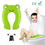 Portable Potty Seat for Toddler Travel - Foldable Non-Slip Potty Training Toilet Seat Cover for Boys | Girls | Baby | Kids with Drawstring Bag: more info