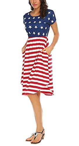 Shirt Summer with Swing Pockets Midi Short Women Jaycargogo Dress T Striped Sleeve 1 v5UWq0Wxwf