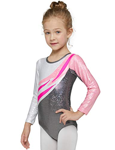 Gymnastics Leotards for Girls MeccEos Practice Outfit Black or White Sparkly Long Sleeve 4T-14 Years