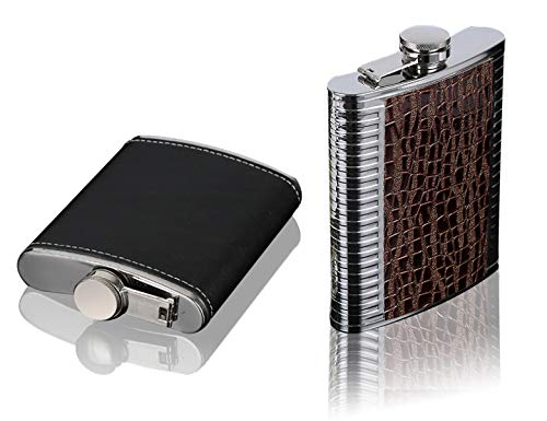2pcs 6oz Hip Flask Set: Stainless Steel luxurious Flask for Liquor in a Gift Packaging. Pocket Drinking Flasks For Travel Boating and Hiking. 6 Ounce Pocket Flask