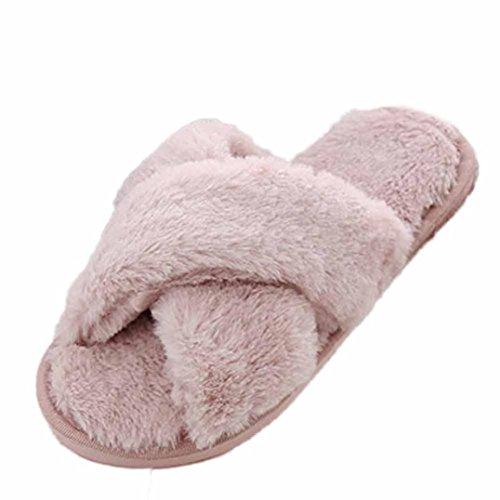 hlhn Damen Flache rutschfeste weiche flauschiges Kunstfell Slipper flip flop Sandalen Schuhe rose 37