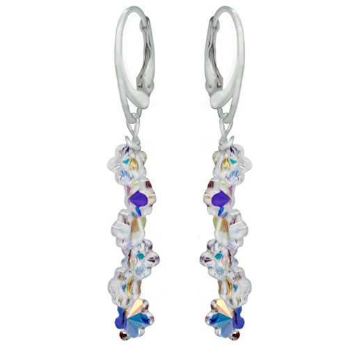 (Sterling Silver with Swarovski Crystals Daisy Flower Aurora Borealis Drop and Dangle Leverback Earrings)