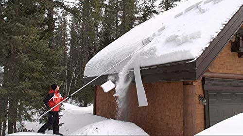 SNOWPEELER PREMIUM ROOF RAKE! Easy-To-Use Rooftop Snow Removal Tool with 30-FT Handle, 15-FT Snow Slide and 18-IN Cutting Blade. Aluminum Construction. Less Time and Effort than Snow Rakes!