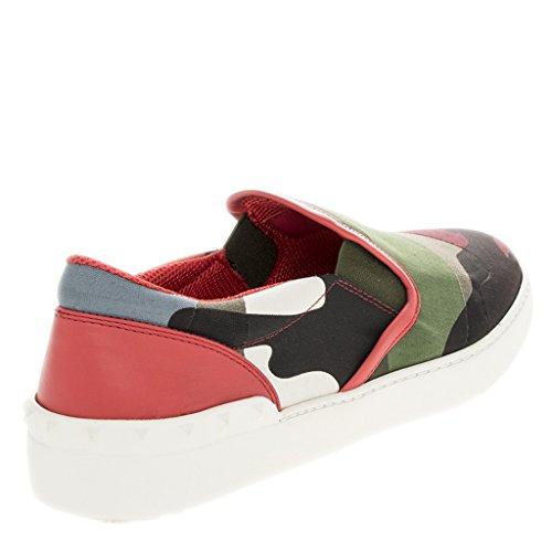 Sneakers Slip-on Con Inserto In Pelle Camouflage Valentino Multicolor Con Suola In Gomma Borchiata
