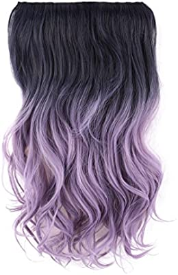 Hairphocas 20 Black To Purple Violet Dip Dyed Colored Secret Hair Extensions Synthetic Curly Wave Hairpieces Amazon Com Au Beauty