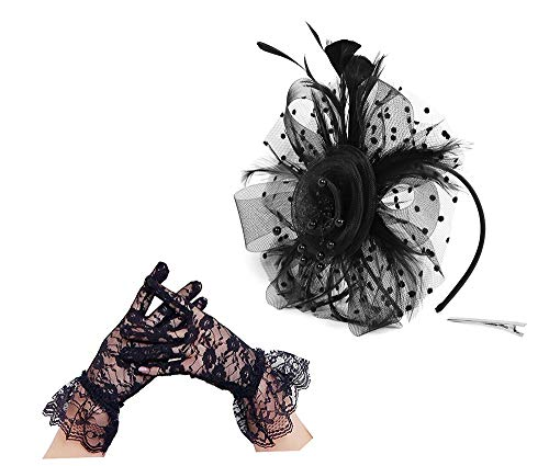 Flower Cocktail Tea Party Headwear Feather Fascinators Top Hat for Girls and Women (1-a-black set)]()