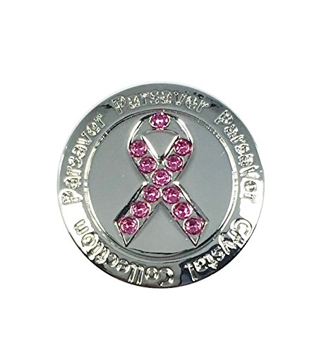 Swarovski Crystal Golf Ball Marker - with Hat Belt Clip - Parsaver Deluxe Pink Ribbon Design - Cancer Awareness - Unmatched Brilliance and Sparkle on the greens - Great Golf Gift idea for (Breast Cancer Awareness Visor)