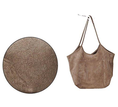 Dreams Mall(TM)Women's Soft Suede Shopper Tote Shoulder Bag Handbag
