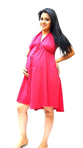 [david-C Cotton Jersey Maternity Labor Delivery Hospital Birthing Gown ONE SIZE (ONE SIZE FITS 2-16+ PLUS 18-26 PRE-PREGNANCY, HOT PINK)] (Halter Jersey Tie)