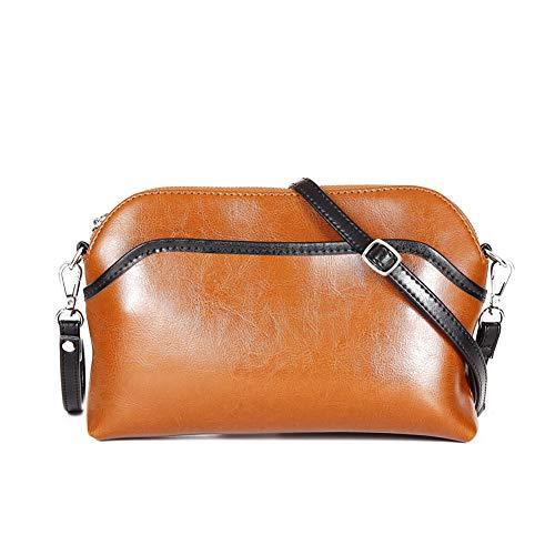 Lecxci Small Women's Soft Vintage Leather Crossbody Travel Smartphone Bag Wristlets Clutch Wallet Purse (Vintage Patchwork, Tan 1)