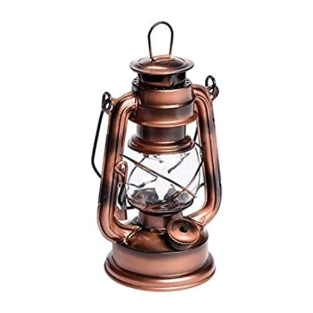 Lanterna Old Style Color Rame Antico a Batteria, h 19 cm, LED Ambra