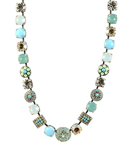 Mariana ''Summer Palace'' Silver Plated Crystal Circle and Rectangle Necklace, 18'' by Mariana