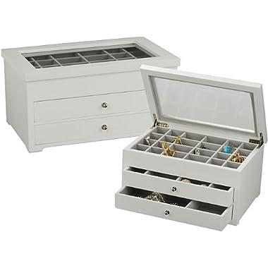 Earring Jewelry Box Storage Organizer (White)