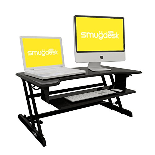 Standing Desk Converter Riser Adjustable (Dual Monitors, Black) (Riser Kitchen)