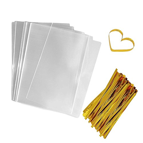 Flat Bags Clear Cellophane Bags 200 PCS Clear Cello Treat Bags OPP Candy Bags Party Favor Bags for Gift Bakery Cookies Candies Dessert with 200 PCS Metallic Twist Ties (4 by 6 inch)
