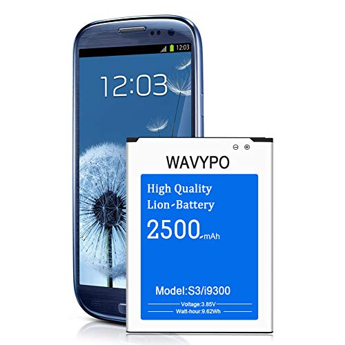 [Upgraded] Galaxy S3 Battery, Wavypo 2500mAh Replacement Battery for Samsung Galaxy S3 I9300, I9305 LTE, I535 (Verizon), T999 (Tmobile), I747 (AT&T), L710 (Sprint) Spare Battery [24 Month Warranty]