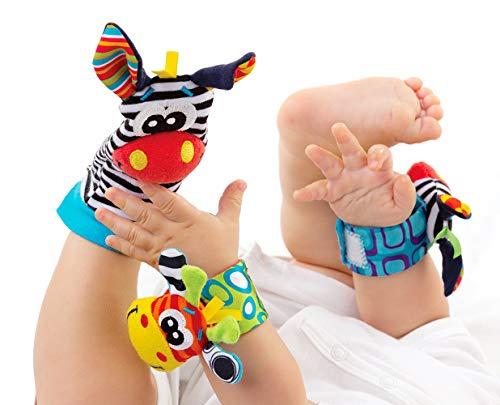 Baby Rattle Neonato Sonagli Calzini da Polso a Sonaglio per Bambini, Simpatici Animaletti Developmental Soft Toys… Abbigliamento Baby Rattle 3