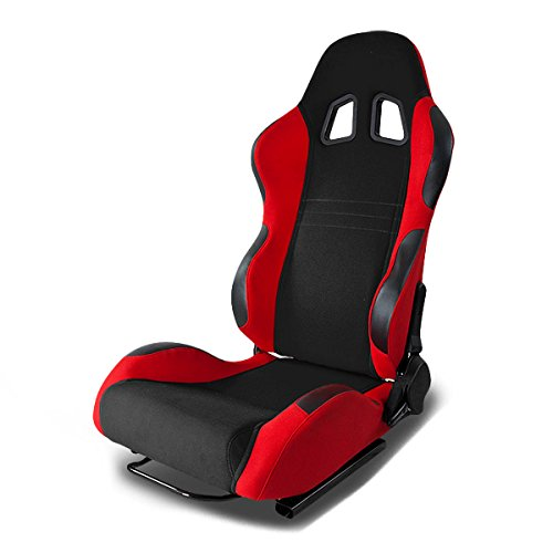 Full Reclinable Black and Red Cloth Type-7 Racing Seat+Adjustable Slider - Seats Racing Car