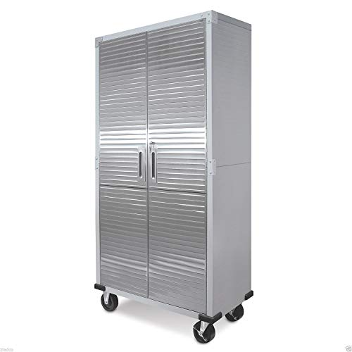 Metal Rolling Garage Tool File Storage Cabinet Shelving Stainless Steel Doors ()