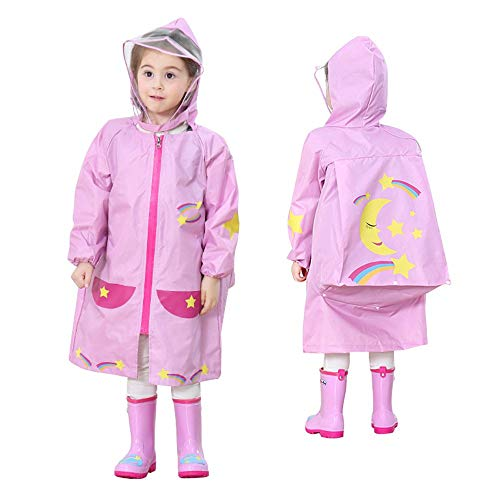 Themes For Sporting Events (LUCKSTAR Children's Raincoat - Waterproof Kids' Poncho with Hooded & School Bag Cover for Theme Parks/Sporting Events/Camping)