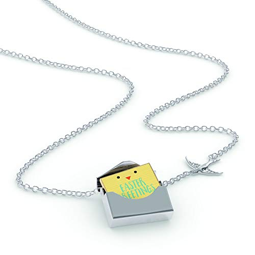 NEONBLOND Locket Necklace Easter Greetings Easter Chick Face in a Silver Envelope ()