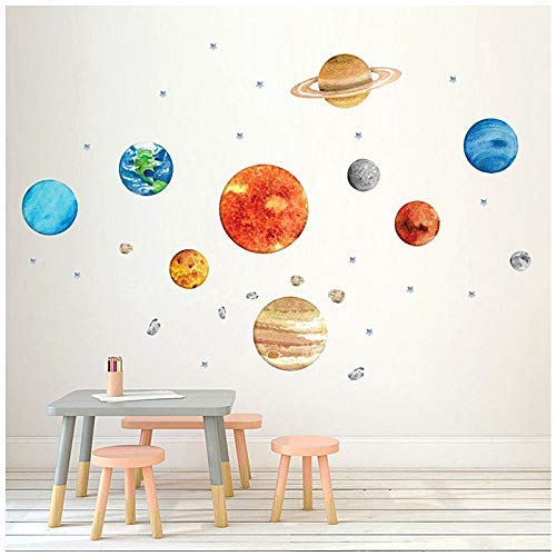 Finduat Space Planet Wall Stickers Decals, Removable Solar System Watercolor Space Vinyl Wall Stickers for Kids Nursery Bedroom Living Room