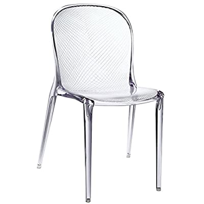 Modway Scape Dining Side Chair in Clear - Durable polycarbonate construction No assembly required Stacks 4 High - kitchen-dining-room-furniture, kitchen-dining-room, kitchen-dining-room-chairs - 41CuAvl6UcL. SS400  -