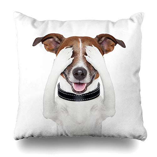 Ahawoso Throw Pillow Covers Fear Hide Hiding Covering Both Eyes Dog Joke Humor Funny Blindfold Seek Design Home Decor Zippered Pillowcase Square Size 16 x 16 Inches Cushion Case