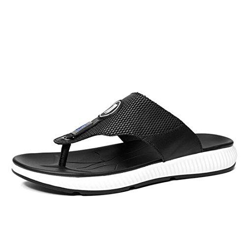 Moda Sandalias Tamaño De De Moda Verano De Black Hombres 5 Para Gran Cuero De Blackwhite De 38 Zapatos De Playa Sandalias wMavIq0w