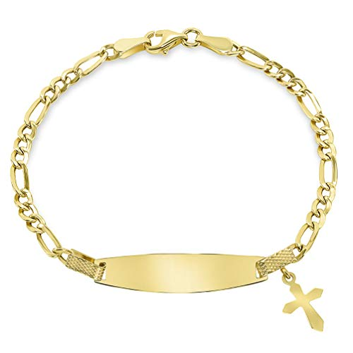 Solid 14k Yellow Gold Figaro Link Engravable Personalized ID Bracelet with Religious Cross Charm, 6