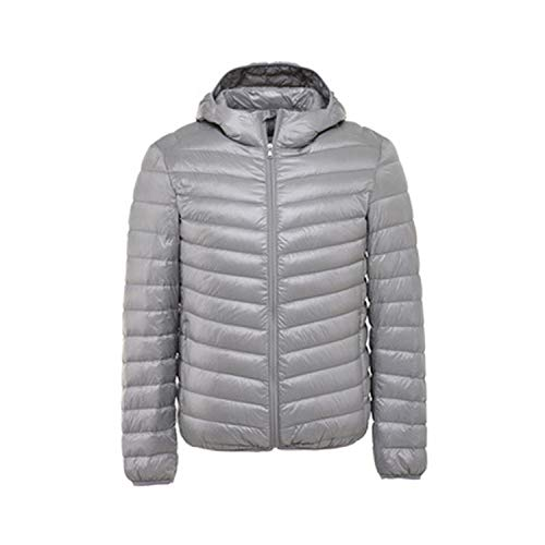 Ultralight Duck Down Jacket Mens Feather Coat Waterproof Warm Mens Clothing,Gray Hood,XL