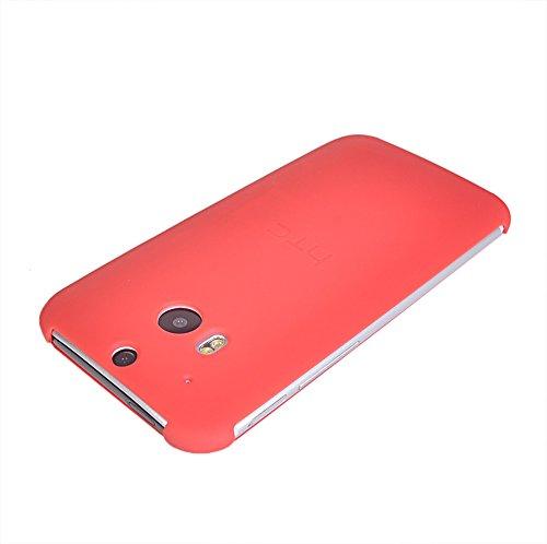 M8 Fundas,COOLKE [Gris] Flip Case Cover Para Slim transpirable Carcasa Caso Cuero Tapa para HTC One M8 Rojo