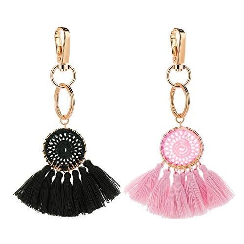 Tassel Pom Pom Key Chain Colorful Boho Charm Key Ring, Fashion Accessories for Women - Ring Tassel