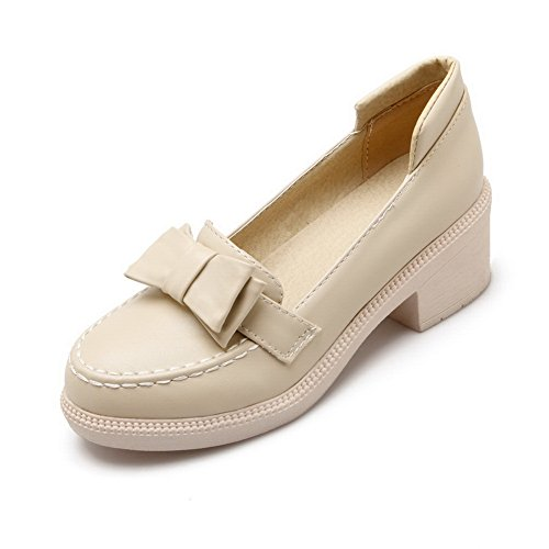Women's Round Toe Square Heel Korean Casual Shoes with Buckle Beige - 9