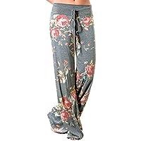 iChunhua Women's Comfy Stretch Floral Print Drawstring Palazzo Wide Leg Lounge Pants