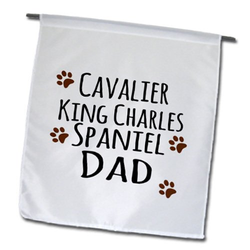 3dRose fl_153882_1 Cavalier King Charles Spaniel Dog Dad Doggie by Breed Brown Muddy Paw Prints Doggy Lover Owner Garden Flag, 12 by - Print Spaniel Dogs Paw