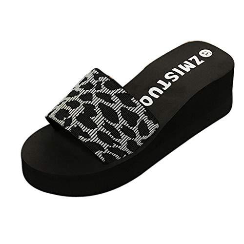 Meigeanfang Womens Slippers Summer Casual Platform Bath Wedge Beach Thick Bottom Flip Flops(Gray,37)