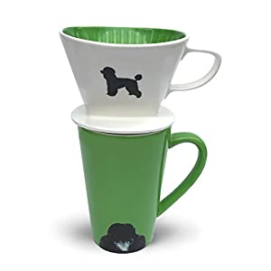 Poodle Coffee Pour Over Filter Cone and Ceramic Mug Set Great Gift for Poodle Owners and Lovers by Simply Charmed 1