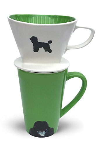 Poodle Coffee Pour Over Filter Cone and Ceramic Mug Set Great Gift for Poodle Owners and Lovers by Simply (Poodle Travel Mug)