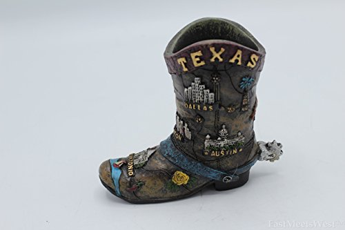 Small Texas Flag Spur Boot Pen Holder Vase Accented w Texas Attractions Rustic Decoration]()