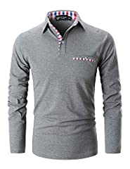 This Long sleeve polo shirt featuring three-button placket and plaid collar design and one fake pocket on left chest,which will make you feel gorgeous and elegant when you wear itPackage:  1* Men's Long Sleeve Polo ShirtSize Chart: S shoulder...