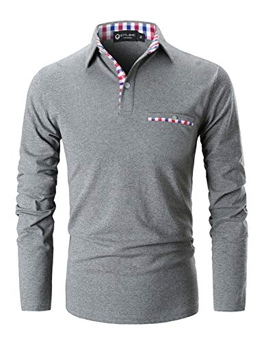 STTLZMC Polo Shirts for Men Long Sleeve Casual Fit Plaid Collar T-Shirts,Grey,X-Large