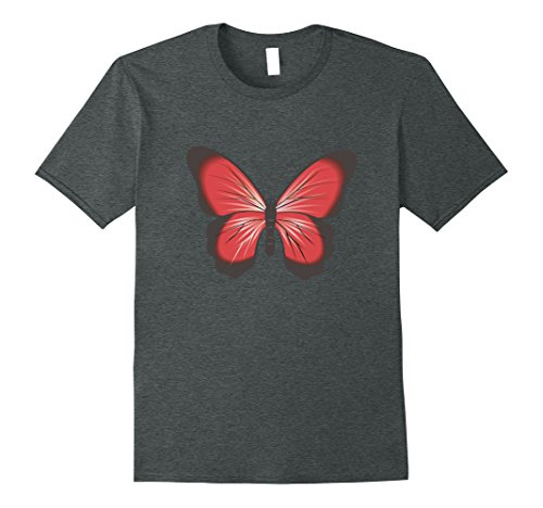 Mens Red And Gray Butterfly Graphic T-shirt XL Dark Heather Butterfly Graphic Tee