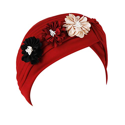 (Dressin Muslim Caps Women's Elegant Stretch Flower Solid Color Turban Chemo Cancer Cap Hat Headwear)