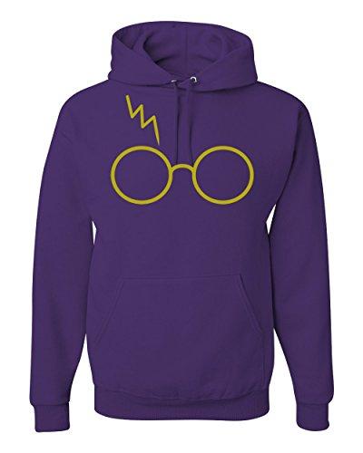 Gold Harry Potter Glasses Scar Unisex Hooded Sweatshirt Fashion Hoodie ( Purple...